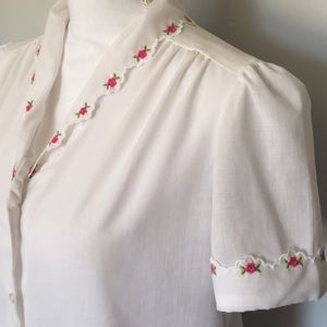Vintage Blouse with Embroidered Roses